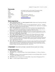 Personalia Work experience Formal Education