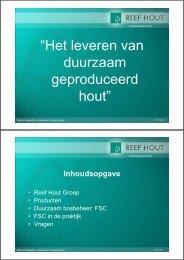 presentatie: 'Het leveren van duurzaam geproduceerd hout'