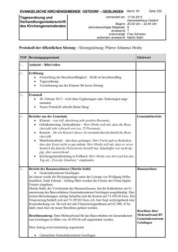 Protokoll der öffentlichen Sitzung - Evangelische Kirchengemeinde ...