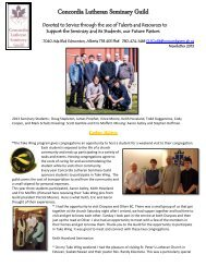 Winter 2013 Newsletter - Concordia Lutheran Seminary