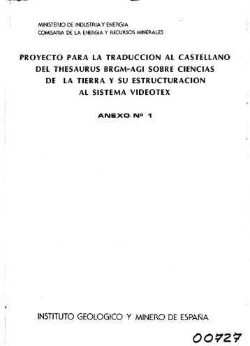 Anexo 1 (PDF) - Instituto Geológico y Minero de España