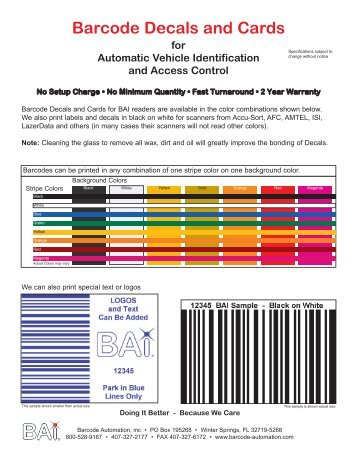 Barcode Decals and Cards - Vehicle Access Control