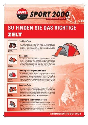 ZELT SO FINDEN SIE DAS RICHTIGE - Sport Steinbach