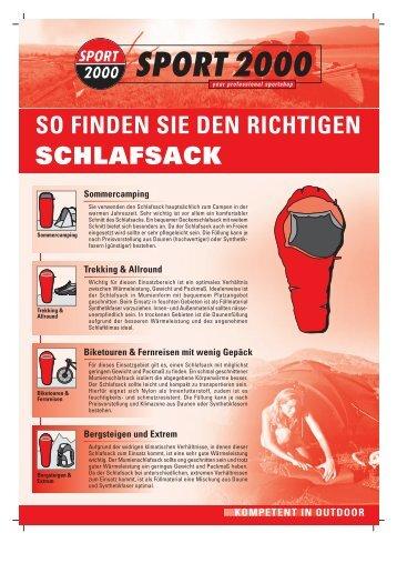 SCHLAFSACK SO FINDEN SIE DEN RICHTIGEN - Sport Steinbach
