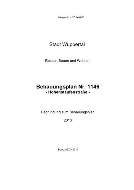 Bebauungsplan Nr. 1146 - Hohenstaufenstraße - Stadt Wuppertal