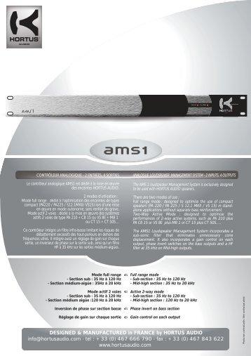 Fiche AMS1.QXD - Hortus Audio