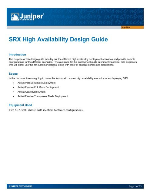 SRX High Availability Design Guide - Juniper Networks