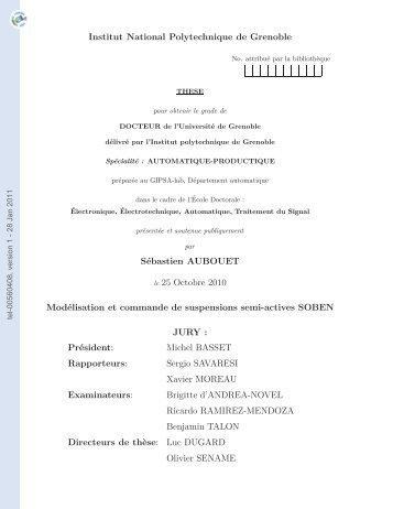 Modélisation et commande de suspensions semi-actives SOBEN
