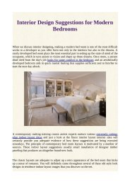 Interior Design Suggestions for Modern Bedrooms