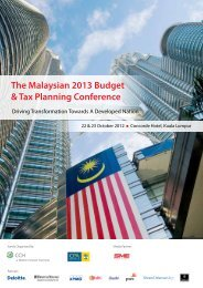 The Malaysian 2013 Budget & Tax Planning ... - CCH Malaysia