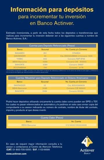 Información Para Depósitos - Actinver