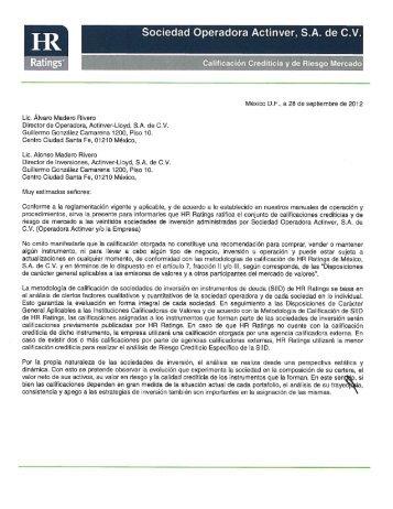 Sociedad Operadora Actinver, S.A. de C.V.