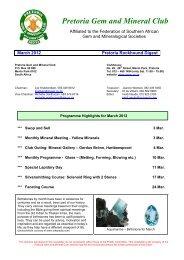 March 2012 - Pretoria Gem and Mineral Club (PGMC)