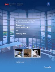 Access to Information Act Privacy Act - Agence spatiale canadienne