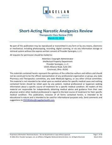 Short-Acting Narcotic Analgesics Review - Texas Health and Human ...