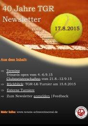 40 Jahre TGR - Newsletter vom 10.8.2015