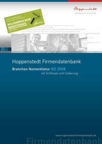 Branchen Nomenklatur WZ 2008 - Hoppenstedt Firmendatenbank