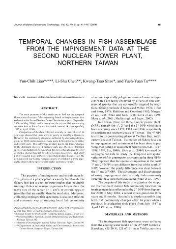 temporal changes in fish assemblage from the ... - Academia Sinica