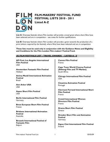 (A)Travel Grant Festival List - Film London