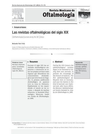 Las revistas oftalmológicas del siglo XIX - Sociedad mexicana de ...