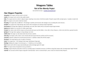 Weapons Tables - Bold Pueblo Games