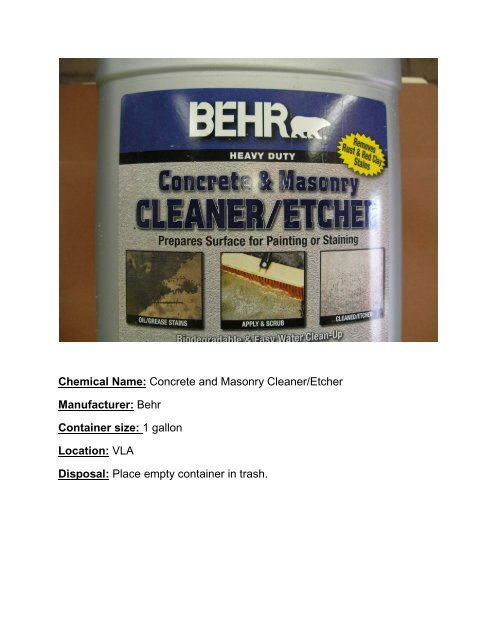 Behr concrete and masonry cleaner/etcher