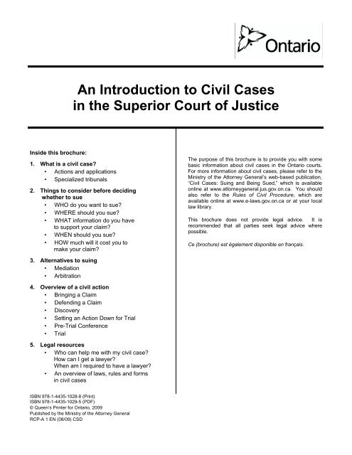An Introduction to Civil Cases in the Superior Court of Justice