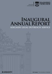 INAUGURAl ANNUAl REPORt - the Adelaide Law School