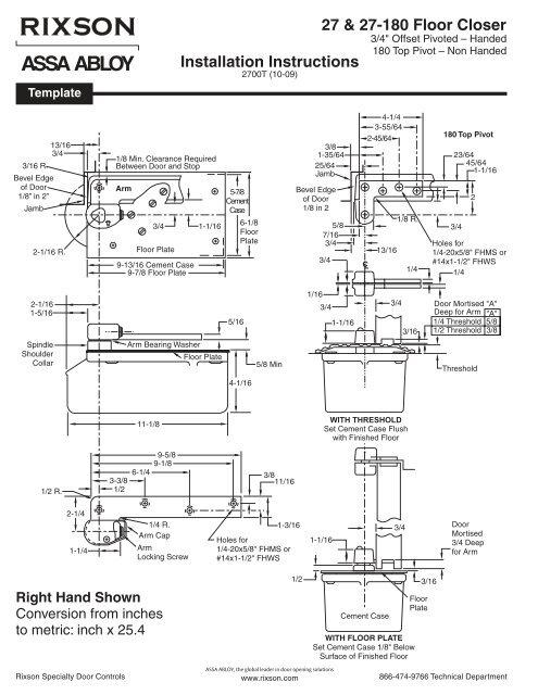 Rixson Model 27 Floor Closer Installation Guide Epivots
