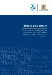 Restoring the balance - Royal Australasian College of Physicians