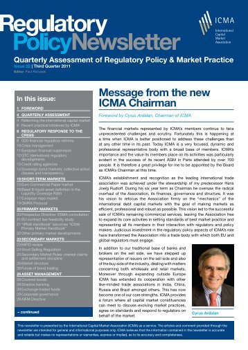 Issue no. 22: ICMA Regulatory Policy Newsletter