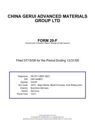 CHINA GERUI ADVANCED MATERIALS GROUP LTD FORM 20-F