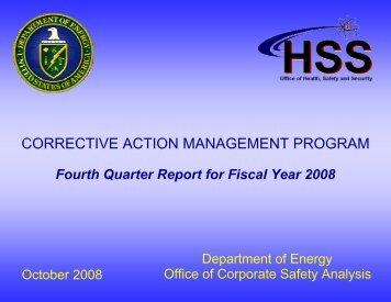 Corrective Action Management Program, Fourth Quarter Report ...