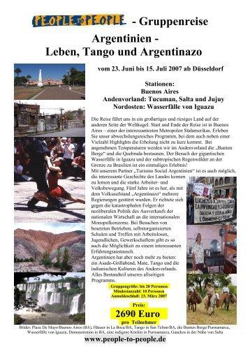 - Gruppenreise Argentinien - Leben, Tango und Argentinazo
