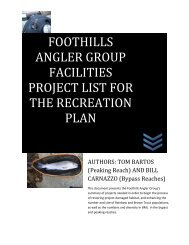 foothills angler group facilities project list for the recreation plan