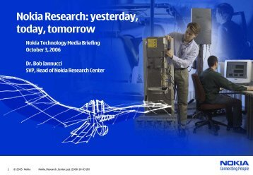 Nokia Research Center: yesterday, today, tomorrow