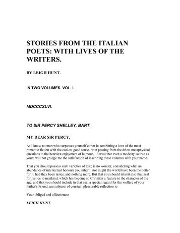 stories from the italian poets: with lives of the writers. - works