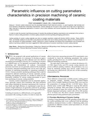 Parametric influence on cutting parameters characteristics in ...