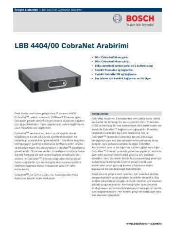 LBB 4404/00 CobraNet Arabirimi - Bosch Security Systems