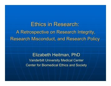 Ethics in Research: - Vanderbilt School of Medicine