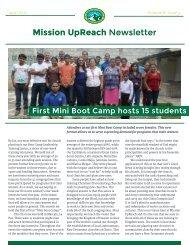 Mission UpReach Newsletter - April 2015