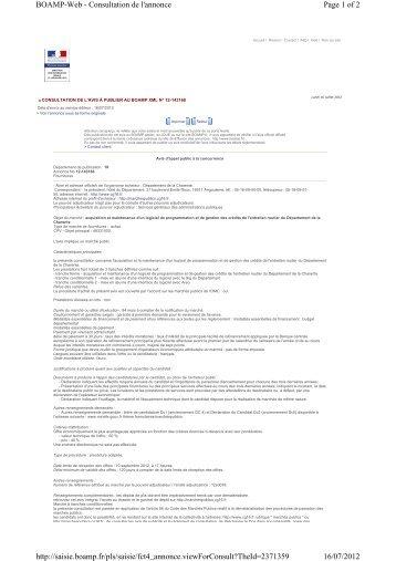 Page 1 of 2 BOAMP-Web - Consultation de l'annonce 16/07/2012 ...