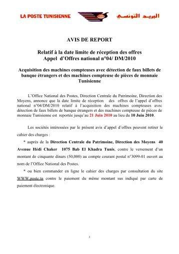 AVIS DE REPORT Relatif à la date limite de réception des offres ...