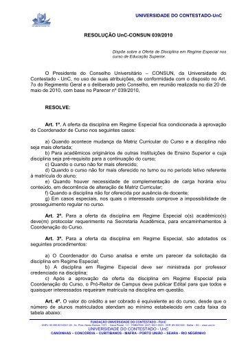 RESOLUÇÃO UnC CONSUN 039-2010 - Oferta de Disciplina em ...