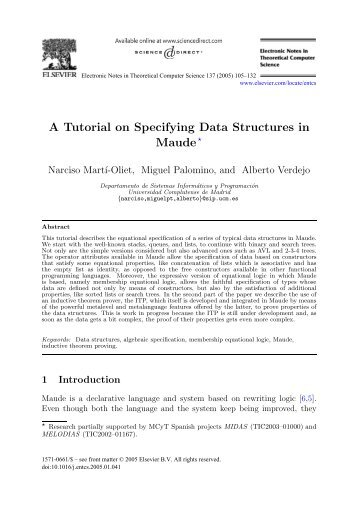 A Tutorial on Specifying Data Structures in Maude - Universidad ...