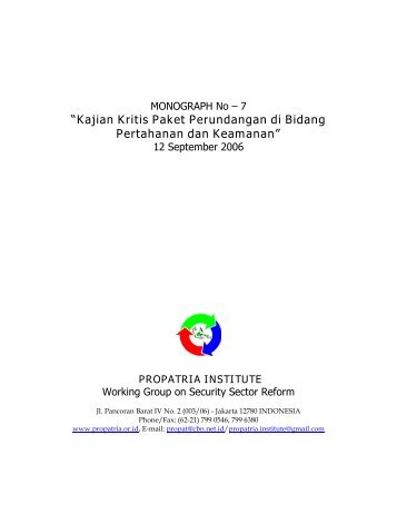 Monograph No.7 on Kajian Kritis Perundangan ... - Propatria Institute