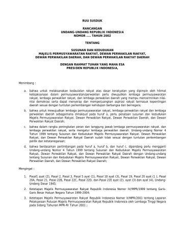 Draf RUU tentang Susunan dan Kedudukan MPR, DPR, DPD, dan ...