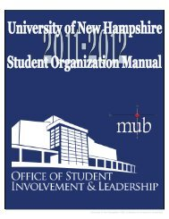 University of New Hampshire Office of Student Involvement ...