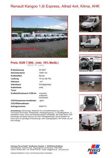 Preis: EUR 7.990,- (inkl. 19% MwSt.) - Autohaus Perras