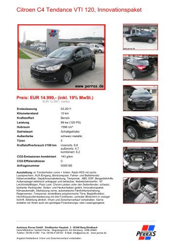 Preis: EUR 14.990,- (inkl. 19% MwSt.) - Autohaus Perras
